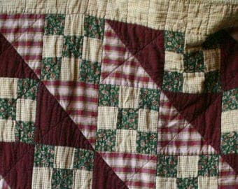 50s Quilt Primitive and Rustic Hand Made Plum and Green Colors Somewhat Worn 56 x 90 Vintage From Nowvintage on Etsy