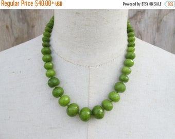 XMAS in JULY SALE Olive Graduated Beaded Necklace, Khaki Green Single Strand Beads