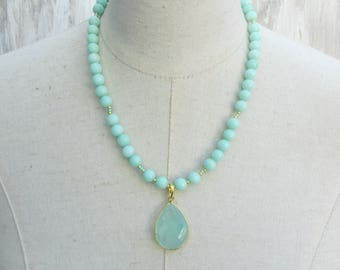 Mint Green Aqua Beaded Chrysoprase Gold Faceted Gemstone Pendant Necklace