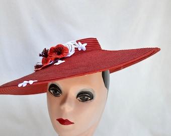 Vintage Red Large Brim Straw Hat / 1940's Vintage Red Women's Straw Sun Hat / Vintage Women's Large Brim Hat / Vintage 1940's Red Straw Hat