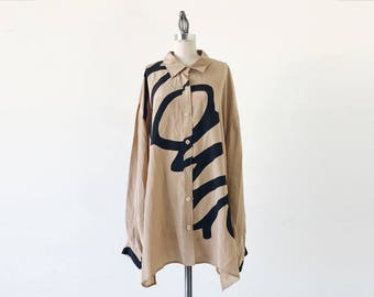 Vintage Diane Von Furstenberg DVF 1990s Tan Abstract Print Long Sleeve Silk Blouse - 3X