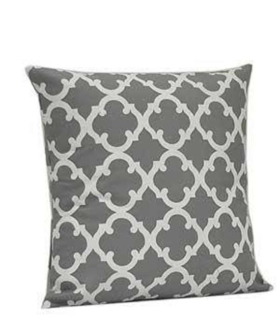 Pillow Cover Monogrammed Grey Quatrefoil Print-FREE SHIPPING
