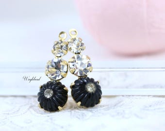Vintage Glass Dangles Round Set Stones Jewelry Finding 23mm Earring Component  Crystal Clear & Black - 2