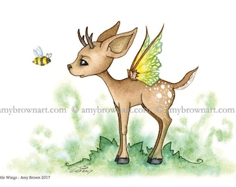 5x7 fairy deer and bee PRINT by Amy Brown