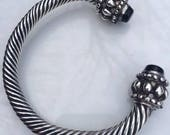 Large Mexican Sterling Wire Cable Black Onyx Ornate Bangle Bracelet
