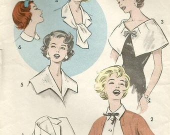 ChristmasinJuly Vintage 50s Advance 9045 UNCUT Misses Collars and Dickeys Accessory Sewing Pattern Size Large