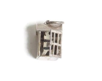 Convict Inmate in Jailhouse Charm Sterling Silver Mechanical Door Opens Vintage