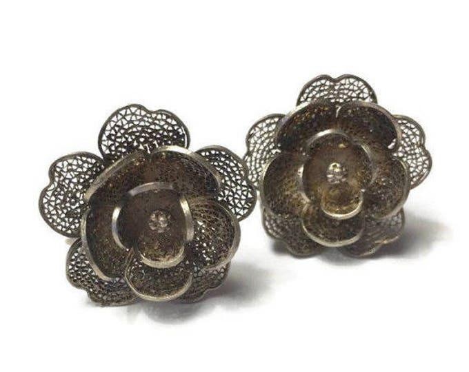 CIJ Sale Silver Filigree Flower Design Earrings Vintage Screw Back