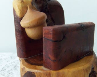 Acorn Business Card Holder Wood