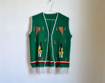 70s Ethnic Vest Mexican Fringed Embroidered Tribal Sweater Knit