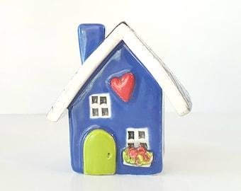 Cobalt Blue Clay House | Cottage | Ceramic House | Miniature House | Whimsical Fairy House | Heart home Tiny House