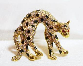 Sale 15% 1980's Leopard Brooch Rhinestones Enamel Black Gold Red Eyes