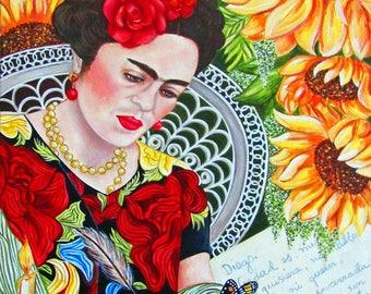 Frida Kahlo, Frida Kahlo Print, Frida Kahlo Wall Art, Frida Portrait, Diego Rivera, Frida Kahlo Artwork, Frida