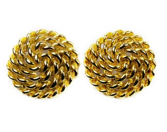 1980s Woven Gold Tone Rope Round Domed Oversized Vintage Clip On Earrings