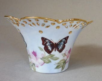 Pink Rose and Butterfly Vase
