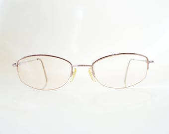 Vintage Italian Reading Glasses Mens Wire Rim Metallic Copper Rose Gold 1980s 80s Classic Made In Italy Eighties Retro Guys Homme