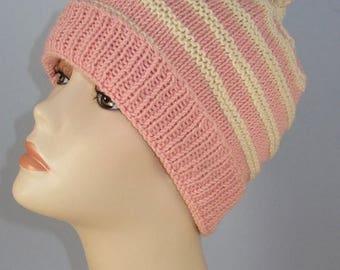 40% OFF SALE Instant digital file pdf download knitting pattern - Stripe Topknot Beanie Hat