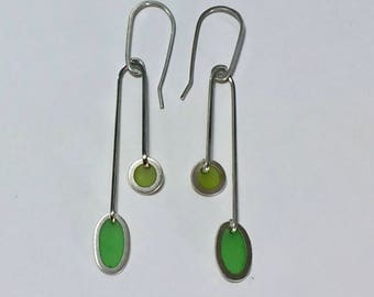 Silver and Resin Mid-Century Modern Earrings in Greens/ Spring and Summer Chandelier Earrings