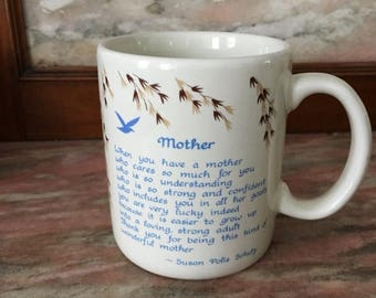 Christmas Sale Vintage Mug MOTHER Sentimental Blue Mountain Arts Papel 1980s Mothers Day Mom Blue Brown