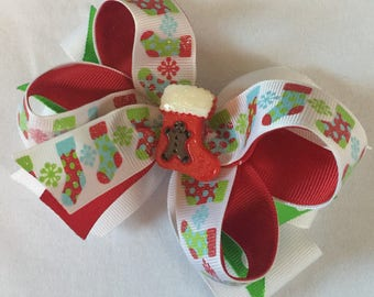 Christmas  stocking boutique hair bow Christmas  print ribbonred hair bow girls hair bow