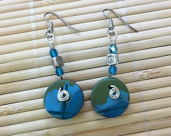 Green and Blue Dangle Beaded Earrings - Handmade Clay and Silver Jewelry For Her