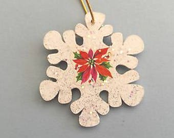 Vintage Glittered Wood Poinsettia Snowflake Wood Christmas Ornament