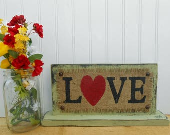 LOVE heart table sign, shelf burlap sign, bookshelf desk sign, party sign, sweetheart table sign, home decor, nursery wedding home decor