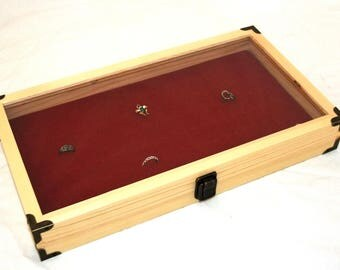 Brass Cornered Natural Wood Display Case With Red 72 Ring Insert