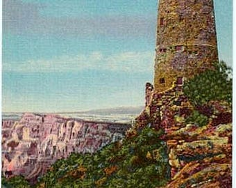 Vintage Arizona Postcard - Desert View Watchtower at the Grand Canyon (Unused)