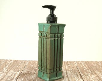 Pottery Soap Dispenser, Ceramic Soap Pump, Arts and Crafts Mission Style, Hand Soap Dispenser, Handmade Pottery, Liquid Soap, Green, 307