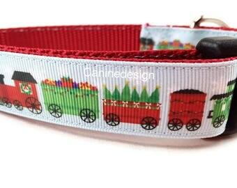 Christmas Collar and Leash, Christmas Trains, 6ft leash, 1 inch wide, adjustable, buckle, chain, martingale, hybrid, nylon