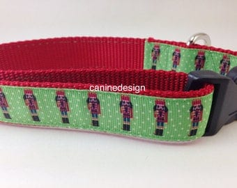 Christmas Dog Collar, Nutcracker, 1 inch wide, adjustable, small, 11-14 inches