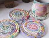 Pastel Bohemian Coiled Coasters - Set of 4 - Hostess Gift, For Your Kitchen or Entertaining, Tea Party, Floral