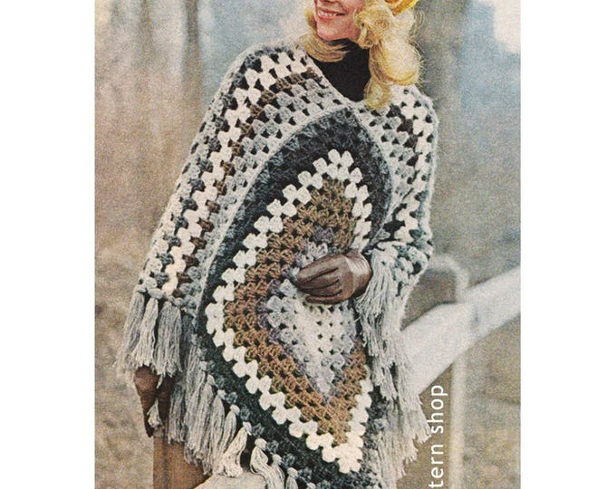 Poncho Crochet Pattern Easy Granny Square Poncho PDF Instant Download