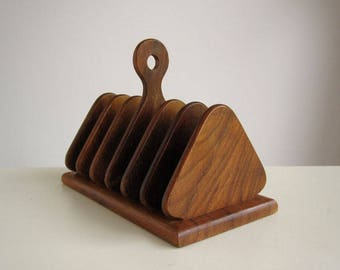 Mid century wooden toast or letter rack c.1950s-1970s / Vintage Betula Woodware birch wood