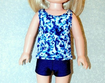 Spring Sale Blue Tank Top and shorts set handmade for 14.5 inch Wellie Wishers tkct1222 READY TO SHIP