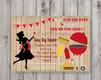 ON SALE Digital Rustic Silhouette BaByQ Cookout Bbq Barbecue Party Baby Shower Invitation Printable