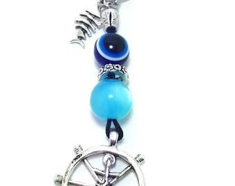 Greek evil eye keyring - Rudder charm - Made in Greece - Greek amulet - Lucky eyes - Car accessories - Keychain