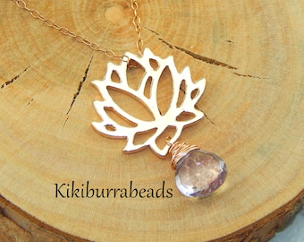Rose Gold Lotus Necklace,Yoga Necklace,Zen Necklace,Lotus Flower,Bridesmaid Gift,Moss Amethyst Necklace,Super 7