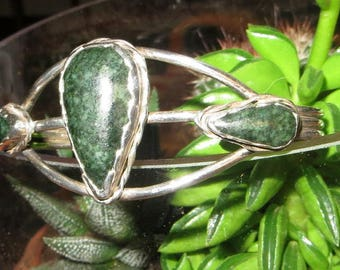 Native American Triple Green Black Jasper Stone Sterling Silver Cuff Bracelet