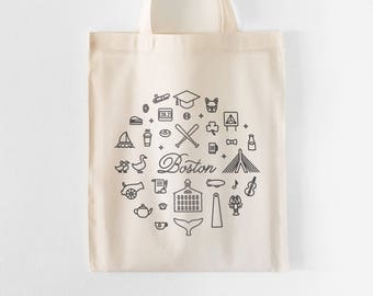 Boston Tote Bag | Farmers Market Tote | Grocery Bag | Shopping Bag | Gift for Her