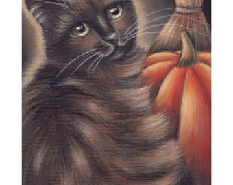 Black Cat Halloween Pumpkin Acrylic Original Painting 5x7