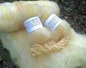 Honey Butter Batt--Hand Spinning Batt--Domestic Wool, Romney Locks, and Silk Sliver--Two Ounces--Plant Dyed