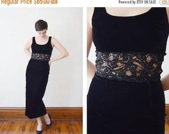 Summer Sale - 1970s Black Velvet Formal Dress - S / Velvet Prom Dress