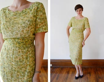 1950s/1960s Sheer Floral Dress with Scalloped Neckline - L