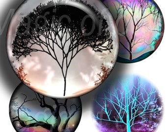 Fantasy Trees - 40  1 Inch Circle JPG images - Digital  Collage Sheet