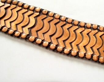 Rebajes Bracelet, Mid Century Modernist Bracelet, Rare Vintage REBAJES Copper Wide Modernist Articulated Link Bracelet, MCM Jewelry