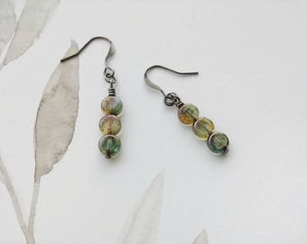 Minimalist Dangle Earrings Moss Green Geometric Czech Glass  - Three Circles.