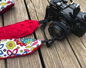 Ready To Ship Monogramming Not Available Extra Long Camera Strap for DSL camera Funky Bright Print With Red Minky Reverse