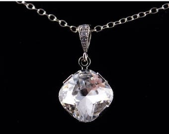 ON SALE Bridesmaid Jewelry Set of 6 Square Crystal Wedding Necklaces